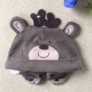 Baby Carters Hat Booties Set Deer 3 Months New